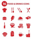 Food and Drinks icons,Red version