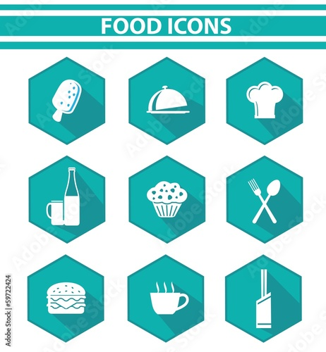 Kitchen and food icon set,Blue version