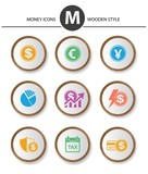 Money icons,wood style,vector