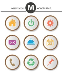 Website icons,wood style,vector