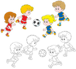 Children play football