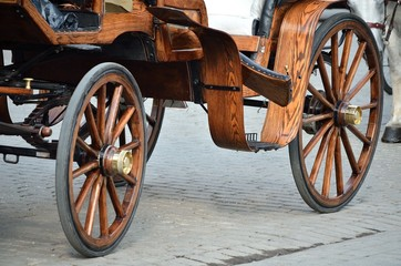 Wodden wheel cab in cracow