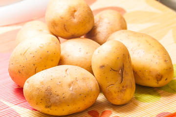 Pile of raw potatoes