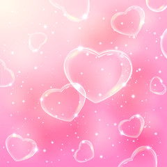 Bubble hearts on pink background