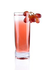 Pink cocktail with grapes on white background