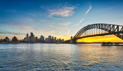 Dramatic panoramic sunset photo Sydney harbor