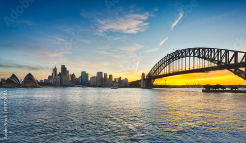 Fotobehang Australië Dramatic panoramic sunset photo Sydney harbor