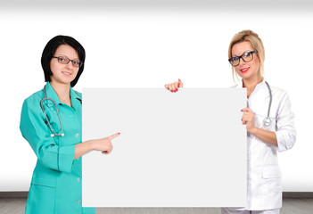 two doctor holding poster