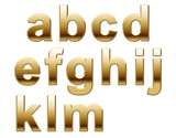 Shiny Gold Lowercase Letters on White