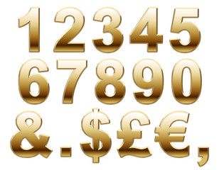 Shiny Gold Numbers and Symbols on White