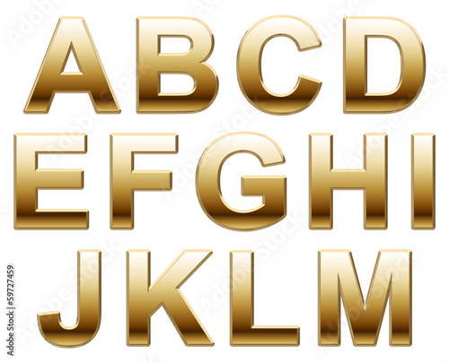 Shiny Gold Capital Letters on White