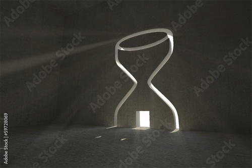 Hourglass door in dark room