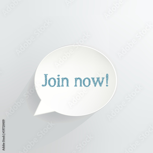Join Now Speech Bubble Sign