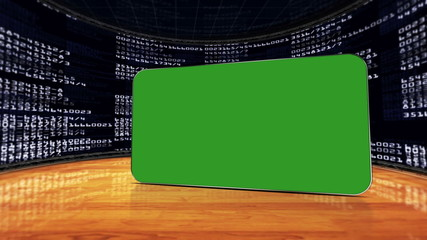 Numbers Room and Green Screen Monitor, with Alpha Channel