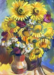 Sunflower. Hand-drawn in gouache