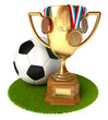 Gold Cup with medals and soccer ball