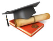 Graduation cap, diploma and red book