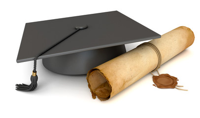 Graduation cap and diploma. Old Scroll paper with wax seal