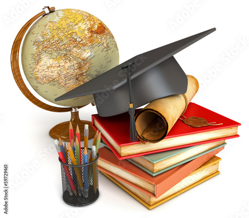 Graduation cap, diploma, stack of books, globe, and various colo