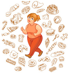 Fat woman dreams of high-calorie foods