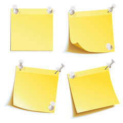 Blank notes pinned on corkboard ready for your text