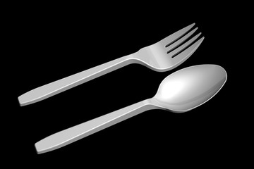 3D plastic spoon and fork
