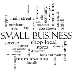 Small Business Word Cloud Concept in black and white