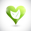 heart and leaves. green illustration design
