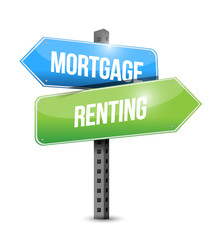 mortgage and renting sign illustration design