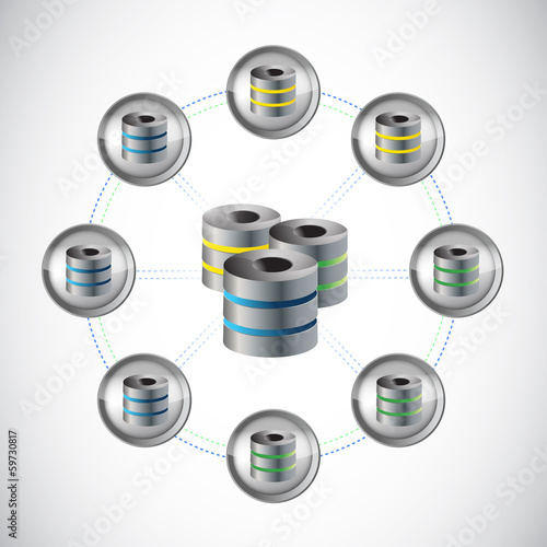 server network circle illustration design