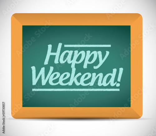 happy weekend message over a blackboard.