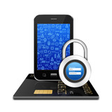 Padlock username password  creditcard with smartphone ,cell phon poster