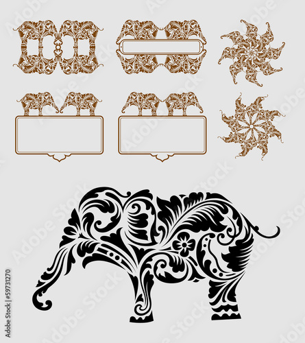 Aluminium Floral Ornament Elephant Ornament Decoration