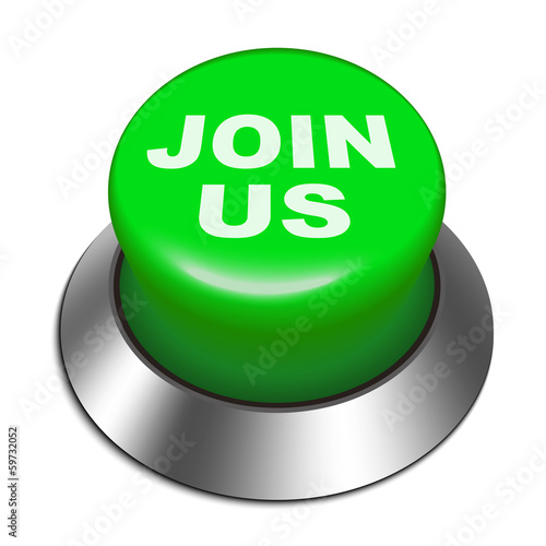 3d Illustration of shiny join us  button