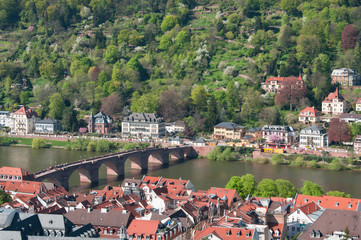 View from Heidelberg castle and the old Bridge over river Neckar