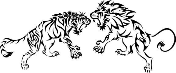 tiger battle lion tribal