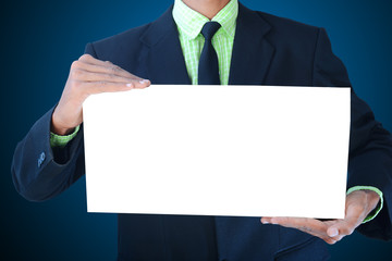 man showing a white paper