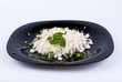 snow-white rice on the plate