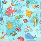 Sea life pattern blue