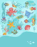 Sea life card blue