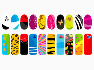 Vector illustration of different nail designs