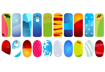 Vector illustration of nail designs with holidays details