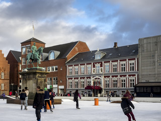 Main square with public ice rink, Esbjerg, Denmark