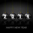 2014 happy new year illustration with christmas balls