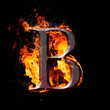 High res iron letter B illustration in fire on black background