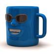 Fun blue mug isolated on white background