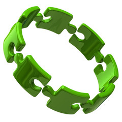 Illustration of open green puzzle ring