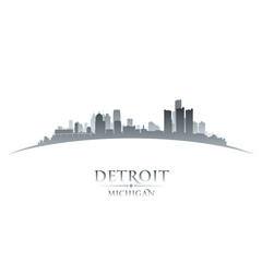 Detroit Michigan city skyline silhouette white background