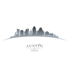 Austin Texas city skyline silhouette white background