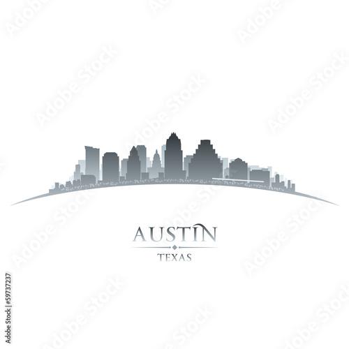 Austin Texas city skyline silhouette white background